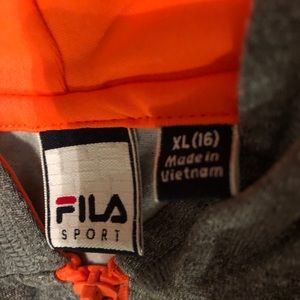 FILA Youth Hoodie With Bright Orange Lining